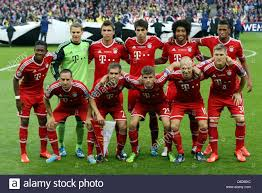 London, UK. 25th May, 2013. The team of Bayern Munich pictured ...