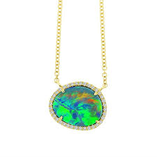 blue green opal pendant necklace in
