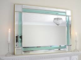 art deco style mirror teal green panel