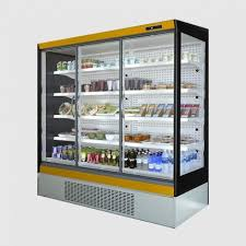upright triple glass door fridge