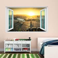 Airport Terminal Airplanes Sunset Wall Sticker Mural Decal Etsy