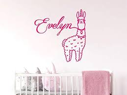 Amazon Com Diuangfoong Wall Decal Llama Personalized Name For Bedroom Wall Decals For Baby Girl Nursery Wall Art Animals Alpaca Wall Art Decals Kitchen Dining