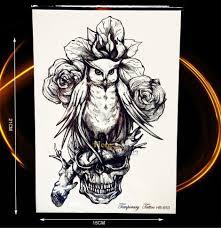 1 Pc Szkic Sowa Tatuaz Mezczyzni Kobiety Body Art Sowa Czaszka