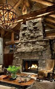 large stone focal point rustic house