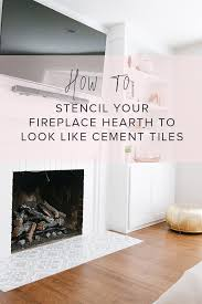 diy fireplace hearth stencil makeover