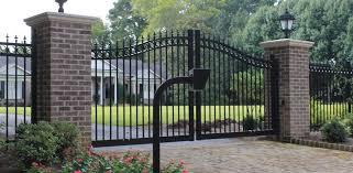 Arched Aluminum Estate Gate W Rings Finials Custom Brick Columns Call Box Swing Gate Operators Accurate Fence Atlanta Fence Company