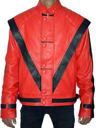 mj thriller red leather jacket top