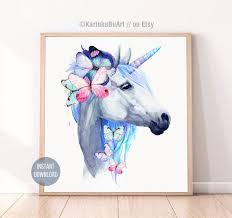 Watercolor Unicorn Clipart Butterfly Poster The Last Unicorn Etsy