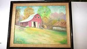 Vintage duane james indiana Folk Art impressionist red barn landscape mcm |  eBay