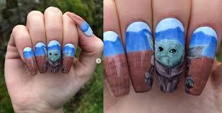 bc nail tech creates adorable baby yoda