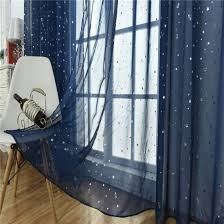 Amazon Com Wubodti Kids Room Window Sheer Navy Blue Curtain 1 Panel Rod Pocket Beautiful Star Voile Sheer Rod Pocket Drapes Curtains For Boys Bedroom Living Room Window Treatments Curtains 39 X 106 Inch
