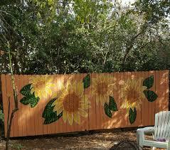 Sunflower Fence Mural Backyard Fence Decor Backyard Fences Fence Art