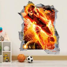 The Flash 3d Wall Decal Superhero Wall Sticker Removable Etsy