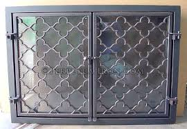 pewter leaded glass fireplace screen