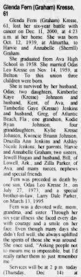 Obituary for Glenda Fern Kresse, 1939-2000 (Aged 61) - Newspapers.com