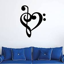 Amazon Com Music Symbol Heart Love Wall Decal Treble And Bass Clef Vinyl Musician Gifts For Bedroom Playroom Or Studio Room Decoration Handmade