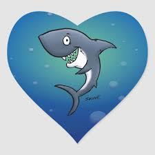 smiling funny shark on blue background