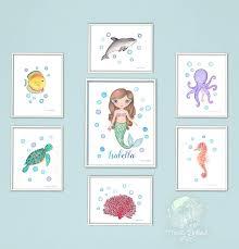 Amazon Com Sea Art Print Set With Personalized Mermaid Watercolor Paintings Ocean Nursery Decor Sea Creatures Kids Room Decor Turtle Sea Turtle Coral Seahorse Fish Octopus Art Handmade