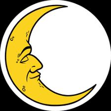 Cartoon Crescent Moon With Face Sticker