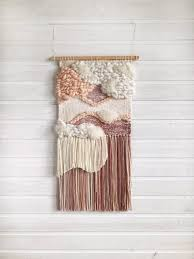 dusty pink woven wall hanging textile