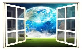 Fantasy Earth 3d Window Wall Decal Sticker Vinyl Moon Solar Etsy