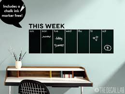 Modern Chalkboard Wall Decal Weekly Calendar Chalkboard Wall Decal Chalkboard Wall Calendars Chalkboard Calendar