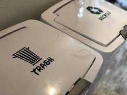 Trash And Recycle Can Vinyl Sticker Trash Can Decal Recycle Can Decal In 2020 Recycle Trash Recycling Bins Kitchen Recycling Information