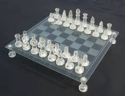 glass chess set and board 38mm squares