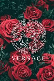 versace logo in roses wallpaper