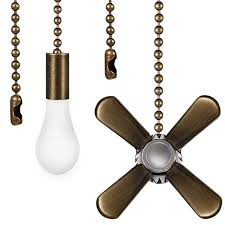 fan and light bulb shaped pull chain