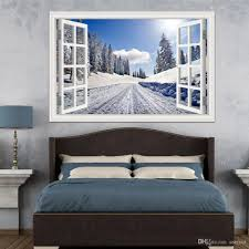3d Window Wall Stickers Home Decor Forest Tree Snow Winter Landscape Wallpaper Murals Vinyl Wall Art Decal Wall Stickers Decoration Wall Stickers Decoration For Home From Asenart 10 26 Dhgate Com