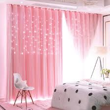 Amazon Com Unistar 2 Panels Stars Blackout Curtains For Bedroom Girls Kids Baby Window Curtain Double Layer Star Cut Out Aesthetic Living Room Decor Wall Home Decorations Curtain W52 X L84 Inches Pink Kitchen