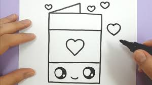 draw a happy love heart card easy