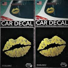 2 Car Decal Stickers Gold Lips Peel Stick Repositionable Car Wash Safe Ebay