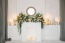 fireplace candles stock photos