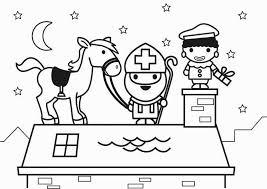 Kleurplaat Sint En Paard Op Dak Gratis Kleurplaten Om Te Printen