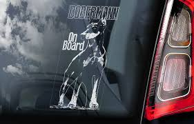 Dobermann On Board Car Window Sticker Doberman Pinscher K9 Dog Sign Decal Cropped V04 Car Window Stickers Dog Stickers Window Stickers