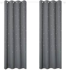 Amazon Com Anjee Twinkle Stars Curtains For Kids Room 2 Panels Set Romantic Room Decoration Grommet Blackout Curtains Drapes 52 X 63 Inches Long Space Grey Home Kitchen