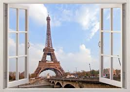 Eiffel Tower Wall Sticker 3d Window Paris Decal For Home Etsy