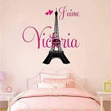 Amazon Com Personalized Custom Paris Eiffel Tower Name Wall Decal Sticker Customized Choose Size Color J Aime I Love Handmade