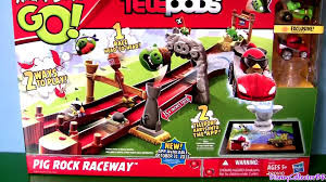 Angry Birds Go Pig Rock Raceway Cars Playset by TELEPODS Launcher ...