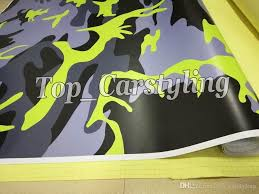 2020 Fluorescent Yellow Camouflage Vinyl Car Wrap Adhesive Decal Diy Air Release From Top Carstyling 140 71 Dhgate Com