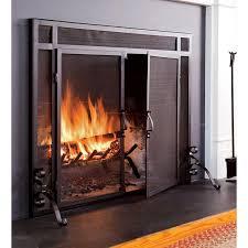 single panel steel fireplace screen