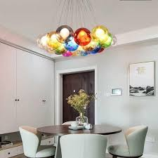 Diy Multi Colored Bubbles Modern Chandelier Glass Ball Stairs Bedroom Creative Kids Room Pendant Light Restaurant Bubble Light Glass Chandelier G4 Led Heparts
