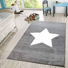 Amazon Com Area Rug For Kids Room Or Living Room Star Design With Modern Pastel Colors Low Pile Size 3 11 X 5 7 Colour Grey Home Kitchen