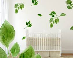 Green Leaf Wall Decals 5 Set Hand Painted Leaf Decals For Etsy In 2020 Wall Decals Leaf Decor Wall