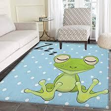Amazon Com Cartoon Rug Kid Carpet Sleeping Prince Frog In A Cap Polka Dots Background Cute Animal World Kids Design Home Decor Foor Carpe 2 X3 Green Blue Furniture Decor