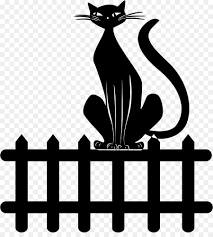 Black Line Background Clipart Cat Fence Black Transparent Clip Art
