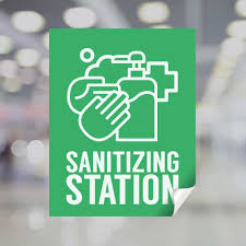 Green Sanitizing Station Window Decal Plum Grove
