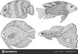 Doodle Zentangle Fish Zen Art Coloring Page For Adults Stock